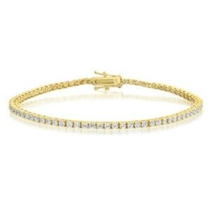 Jewelry - Sterling Silver Gold Plated CZ Tennis Bracelet